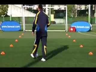 校园足球视频教学 外脚背带球 假动作练习a--华