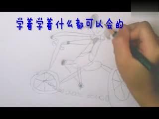 简笔画大全- 骑自行车的女孩