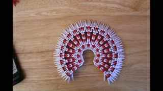 折纸大全◆diy手工折纸立体3d孔雀开屏折法4