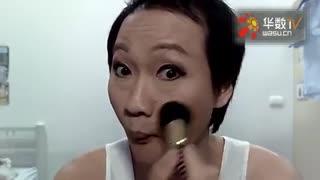 神奇的化妆术大叔变美女全过程