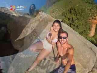 巴西情侣843米高悬崖腾空秀恩爱 无保护措施