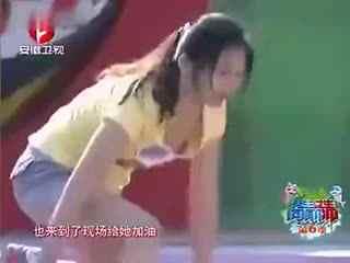 美女老师参加水上闯关节目走光