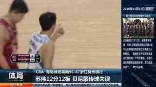 CBA-琼斯33分苏伟12+12 青岛主场胜浙江(配音)