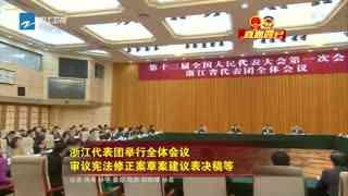 浙江代表团举行全体会议 审议宪法修正案草案建议表决稿等