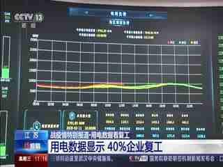 江苏:用电数据显示 百分之40企业复工