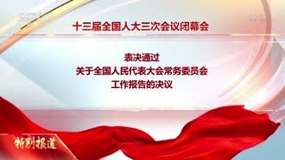 十三届全国人大三次会议表决通过了关于全国人大常委会工作报告的决议