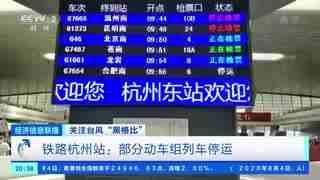 """关注台风""""黑格比"""" 铁路杭州站:部分动车组列车停运"""