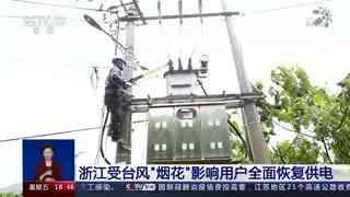 """浙江受台风""""烟花""""影响用户全面恢复供电"""