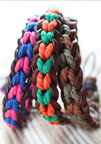 手工编织手链 可调大小金刚结手链的编法