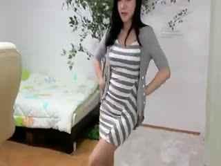 韩国女主播情趣内衣条纹美女热舞